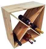 Mobile cantinetta porta bottiglie triangoli 3 scomparti vino in legno per casa bar ristorante cantina