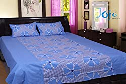 Jojo Designs Cotton Printed Double Bed-Sheet with 2 Pillow Covers (Blue)