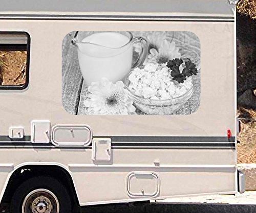 3D Autoaufkleber Milch Käse Blumen Blume grün weiß schwarz weiß Wohnmobil Auto Fenster Sticker Aufkleber 21A1137, Größe 3D sticker:ca. 96x58cm