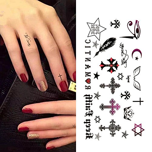 Oottati piccole carino tatuaggi temporanei piuma inglese gotica croce(set di 2)