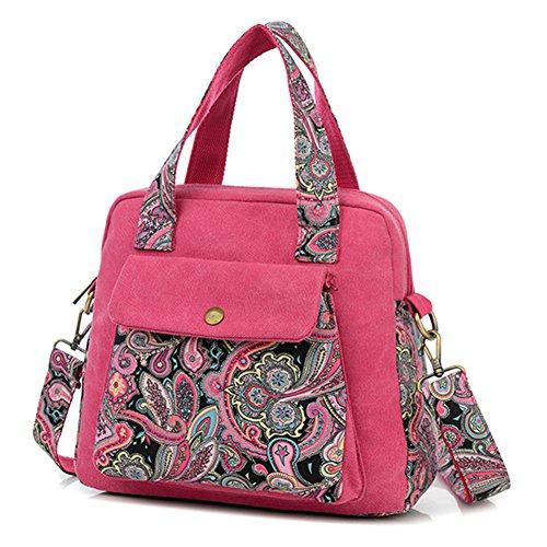 Donna Borse a Spalla in Tela Messenger Bag Retrò Stampa Borsa a Tracolla Tote Borse a mano Rose