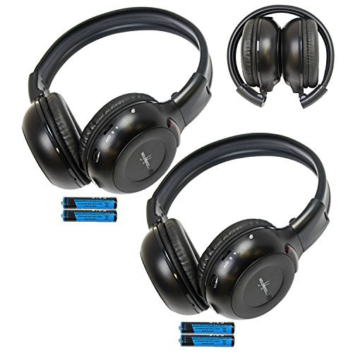 Pair of Two Channel Folding Adjustable Universal Rear Entertainment System Infrared Headphones With Two Additional 48 3.5mm Auxiliary Cords Wireless IR DVD Player Head Phones for in Car TV Video Audio Listening With Superior Sound Quality