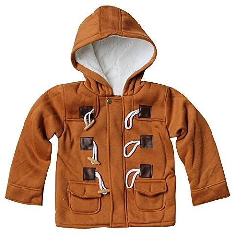 Highdas Kids Duffle Coat Hiver chaud polaire en coton à capuchon Horn Button Snowsuit Brown / 120