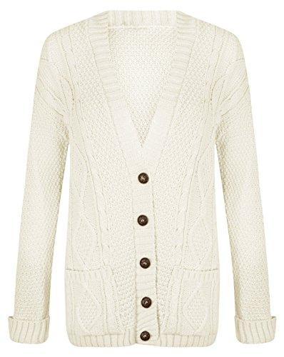 Femme à manches longues et à boutons pour femme Maille épaisse torsadée irlandaise Hanger Cardigan tricoté Crème