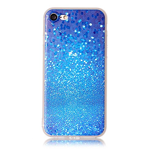 iphone 7 plus 5.5 Cover Silicone, Custodia per iphone 7 plus Morbido, iphone 7 plus Cover Trasparente, Ekakashop Varnish Clear Coating Sollievo La pittura Fashion Colorato Modello 3d Gel Silicone Gom Blu Cielo Stellato