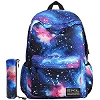 School Backpack for Boys Girls, ICETEK Unisex Galaxy School Backpack Canvas Rucksack Laptop Book Bag Satchel Hiking Bag