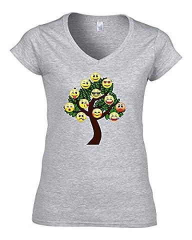 Smileys tree funny cartoon emoji logo t-shirt femme col V coton X-Large