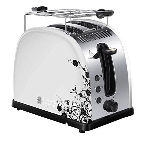Russell Hobbs 21973-56 Toaster Legacy Floral White, Schnell-Toast-Technologie, Brötchenaufsatz, 1300 Watt, weiß/schwarz