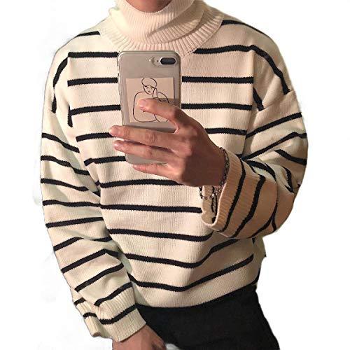 VITryst Men Stripe Thermal Warm Pullover Turtleneck Essential Knitting Sweatshirts White XS -