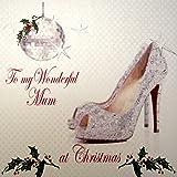 WHITE COTTON CARDS Code XX14–36To My Wonderful Mum At Christmas handgefertigt groß Weihnachten Karte, Glitzer Schuh