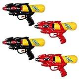 S/O® 4er Pack Wasserpistole 21cm mit Tank rot