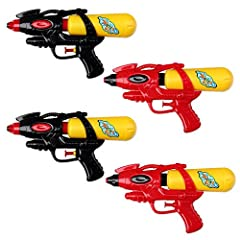 Idea Regalo - S/O® Set di 4 Pistola ad Acqua 21 Centimetri con Serbatoio la Pistola di Acqua Rosso / Nero Fucili ad Acqua Water Gun Pistola di Acqua Watergun Acqua Guns