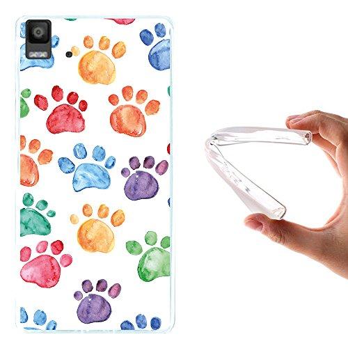 WoowCase Bq Aquaris E5s - E5 4G Hülle, Handyhülle Silikon für [ Bq Aquaris E5s - E5 4G ] Hund Fußabdruck Handytasche Handy Cover Case Schutzhülle Flexible TPU - Transparent