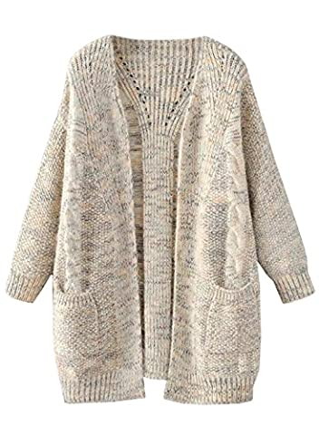 Futurino Women's Autumn/Winter Cable Boyfriend Open Front Patch Pocket Warm Knit Cardigan Sweater Outwear Coat (One Size,