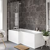 1700 mm Left Hand L-Shaped Straight Shower Bath with Glass Shower Screen + Panel BL116