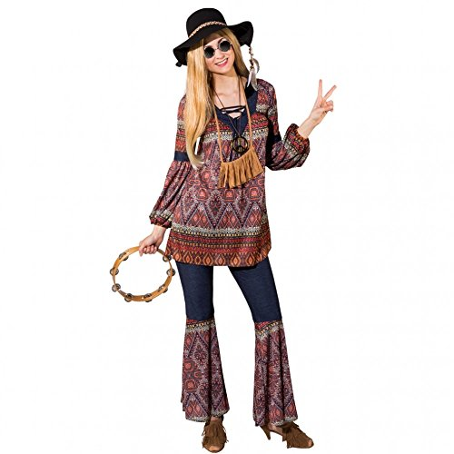 Damen Hippie Kostüm Gr. 42/44 Tunika Schlaghose Coachella Style 70er ()