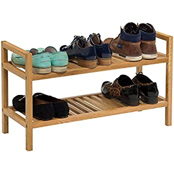 Waverly Oak Stackable Shoe Rack in Light Oak Fits 6 Pairs of Shoes | Wide Organiser Stand | 2 Tier