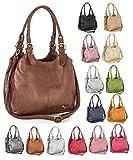 Mabel London Womens Multiple Pockets Handbag - Medium Size Multi Compartments Bag with a Long Shoulder Strap - AMELIA