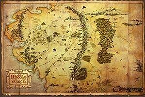 1art1 63239 Le Hobbit Poster Carte de la Terre du Milieu 91 x 61 cm