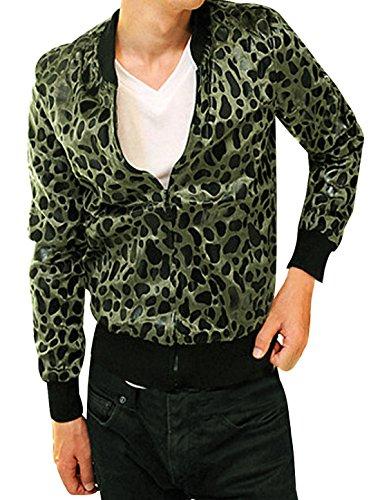 Allegra K Herren Langarm Stylish Stehkragen Leopard Muster Fashion Jacke, Olive Green/S (EU 44) (Leopard Green)
