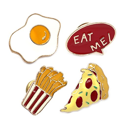 Monnel MP19 Hot Dog Fried Egg Pizza Fries Button Brooches Pins 4pcs/set