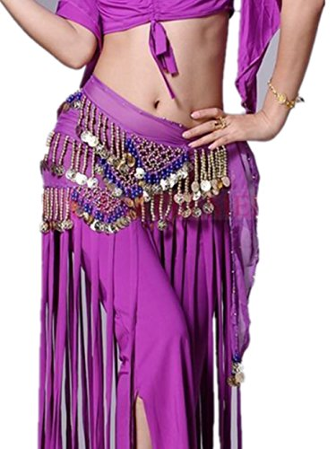 3 Rangées Beaded Tassels Shimmy Danse du ventre costume Foulard Hip Scarves Ceintures purple