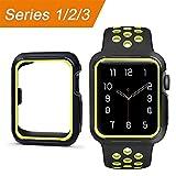 ToDo Apple Watch Hülle, Weiche Ultradünne Leicht TPU Silikon Schutzhülle Stoßfest Protective Case für iWatch Apple Watch Series 3 Series 2 Series 1 Edition Nike+ 42mm - Gelb und Schwarz