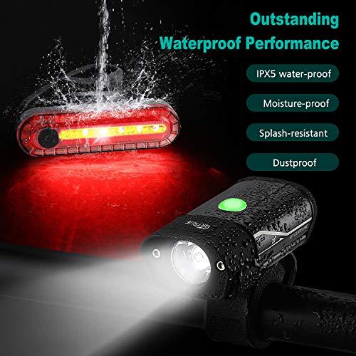 Gretrue Fahrradlicht LED Set, StVZO USB Wiederaufladbare Fahrrad Licht Set, IP65 Wasserdichte Fahrradlampe Set, Fahrradlicht Set Superhelle, Fahrradbeleuchtung für Nachtfahrer,Radfahren und Camping - 5