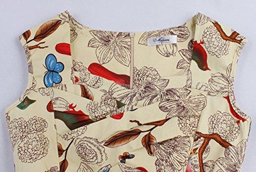 Babyonline® Damen Ärmellos Rockabilly Kurz 50er Jahre Vintage Schwigen Cocktailkleid Petticoat Faltenrock Abendkleider Blumen-2#