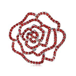 Alilang Damen Silber Farbton rote Strass Blumenblumen Ausschnitt Rosen Knospe Brosche