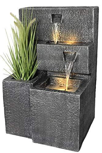 Springbrunnen Grada Bepflanzbar mit LED Beleuchtung, Wasserfall Gartenbrunnen Kaskade Terrassenbrunnen