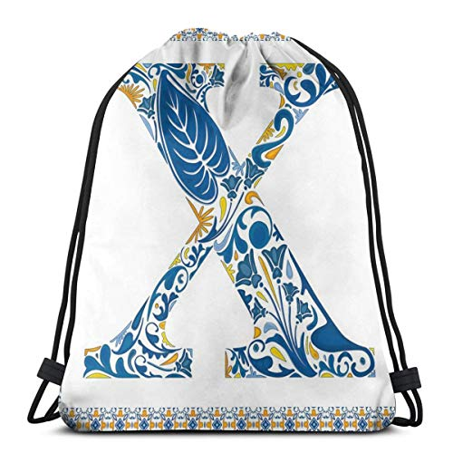 WTZYXS Drawstring Sack Backpacks Bags,Nature Inspired Arrangement Flowers Leaves European Style Letter Print,Adjustable,5 Liter Capacity,Adjustable. -