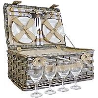 Deluxe mimbre 4persona cesta de Picnic–perfecta idea de regalo para Navidad, cumpleaños, bodas y aniversario