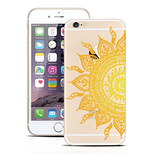 Yokata Coque iPhone 6S, iPhone 6 (4.7 inch) Housse Étui Bumper de Silicone Souple + Back Cover PC Dur Rigide Etui iPhone 6S / 6 Hard Case Clair Transparent Ultra Mince Cover Anti Rayures Housse de Pro Tournesol