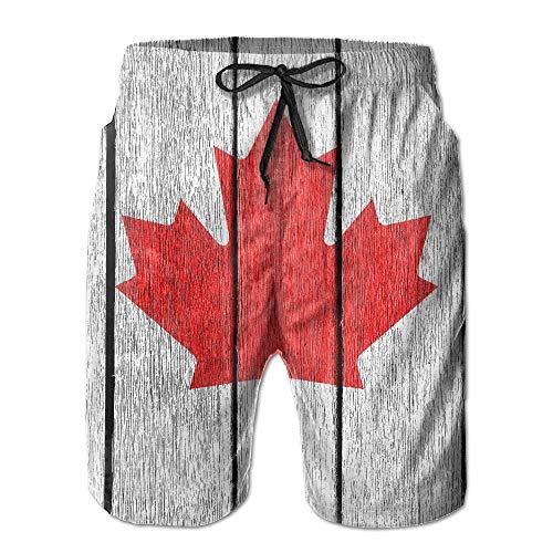 FAVIBES Retro Holz Kanada Flagge Quick Dry Lace Boardshort Strand Shorts Hosen Badehose Urban Boy Badeanzug Mit Taschen,Größe XXL