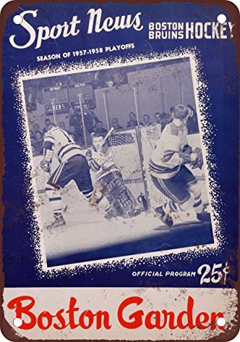metal Signs Blechschild 1958 Stanley Cup Boston vs. Montreal Vintage Look Reproduktion 17,8 x 25,4 cm (Boston Home-theater)