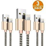 Lightning Cable- Zeuste Cargador iPhone [3PACK 1.5M] Nylon Cable para iPhone 7 7Plus SE 6s 6 Plus 5s 5c 5 se, iPad Pro Air 2, iPad mini 4 3 2, iPod touch 5th gen / 6th gen / Nano 7th gen, Dorado.