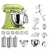 KitchenAid Küchenmaschine Artisan, 5KSM175PS, Pasta Paket inkl. TOP Zubehör: Nudelvorsatz mit 3 Walzen, Pastapresse (kurz) mit 6 Aufsätzen, Nudeltrockner und Standardzubehör (Apfelgrün)