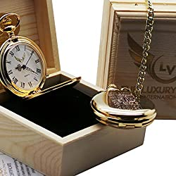 Muhammad Ali Gold Pocket Watch with Quote Luxury 24 Carat Plated in Wooden Gift Case for Boxing Fans