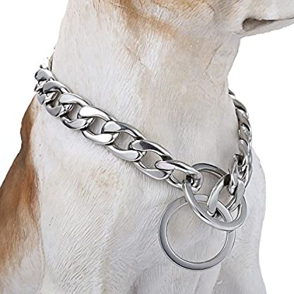 Trendsmax 13mm Silver Tone Curb Cuban Link 316L Stainless Steel Dog Choke Chain Collar 12-30inch 2