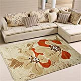 Teppich Rechteckiger Rutschfester verdickter Blumen-Schlafzimmer-Wohnzimmer-beige Teppich 133 * 190cm
