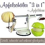 Apfelschäler Apfelschneider Apfelentkerner 3 in 1 mit Apfeldose (Cremeweiß)