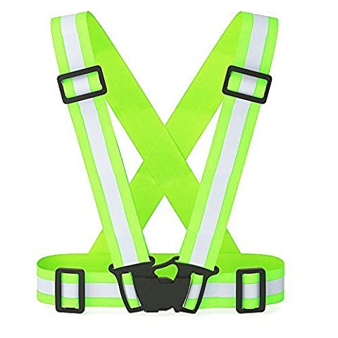 Adjustable High Visibility Elastic Reflective Safety Vest Harness & Armband Combo, Perfect for Running, Jogging, Cycling, Walking, Motorcycle Riding ,the Best Running Gear Around