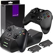 Fosmon Microsoft Xbox One/One S/One X Controller Ladestation Stand Ständer Charging Set[2X Akku][SCHNELL Dual Charger] LED Dock Docking Station Ladegerät Konsole Halterung mit Batterien Power Packs (Schwarz)