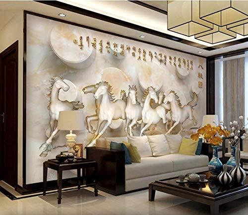 WPDecor Die Beste Marmor Acht Pferd Figur 3D Raum Tv Sofa Hintergrundwand-350x256cm(138x101 inches)
