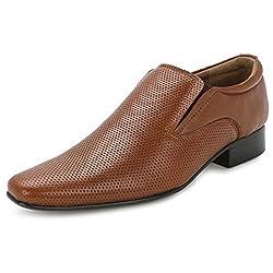 Escaro Mens 100% Genuine Leather Tan Formal Slip On Dress Shoes (ES3000KB_TAN_10)