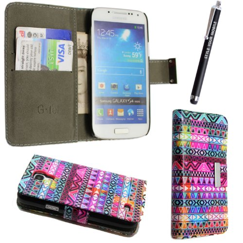 Price comparison product image FOR SAMSUNG GALAXY S4 MINI I9190 NEW ARRIVAL PREMIUM QUALITY PU LEATHER MAGNETIC FLIP CASE COVER POUCH + SCREEN PROTECTOR +STYLUS (Aztec Dark Tribal Vintage Book)