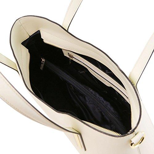 Tuscany Leather Olimpia Borsa shopper in pelle Nero Avorio