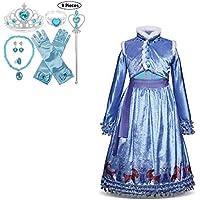JJAIR Traje del Vestido de la Princesa para Las niñas, Terciopelo Partido Princesa de la Nieve de Vestir Comfort Estilo Elegante con Borde de Piel del Cabo y Accesorios,140