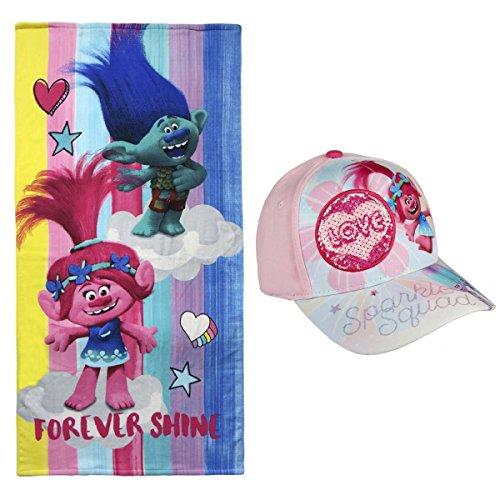 Toalla de Playa niña Trolls + Gorra premium y pegatinas de regalo